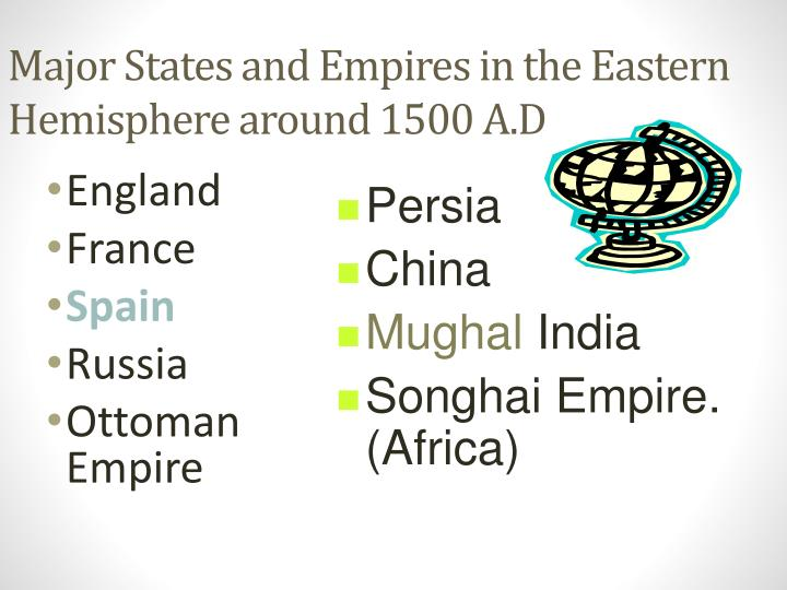 Major States and Empires in the Eastern Hemisphere around 1500 A.D