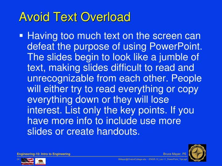 Avoid Text Overload