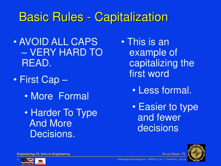 Basic Rules - Capitalization
