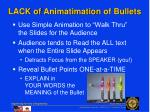 lack of animatimation of bullets