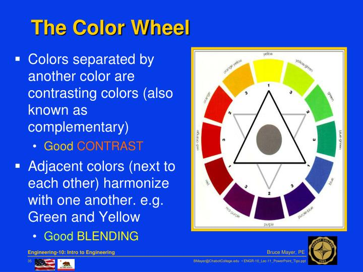 Colors separated by another color are contrasting colors (also known as complementary)