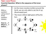 topic lunar phases essential question what is the sequence of the lunar phases7