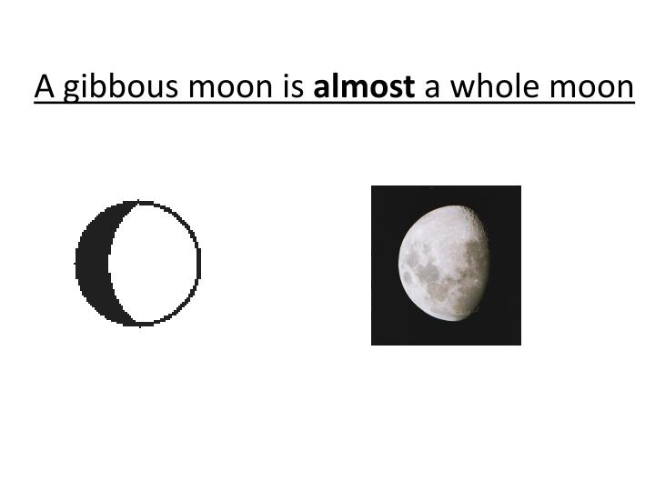 A gibbous moon is