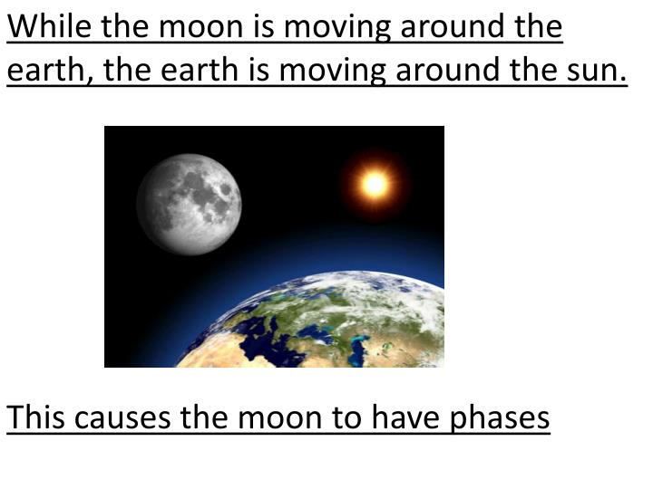 While the moon is moving around the earth, the earth is moving around the sun.