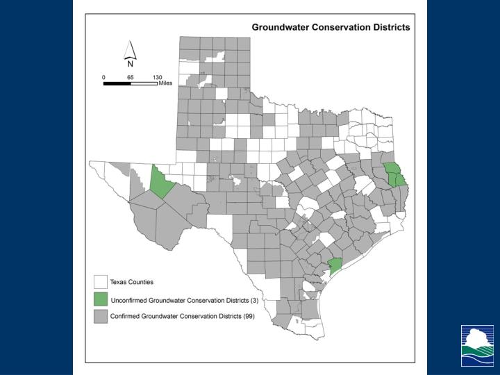 The map shows confirmed and unconfirmed groundwater conservation districts in Texas in gray and green respectively.