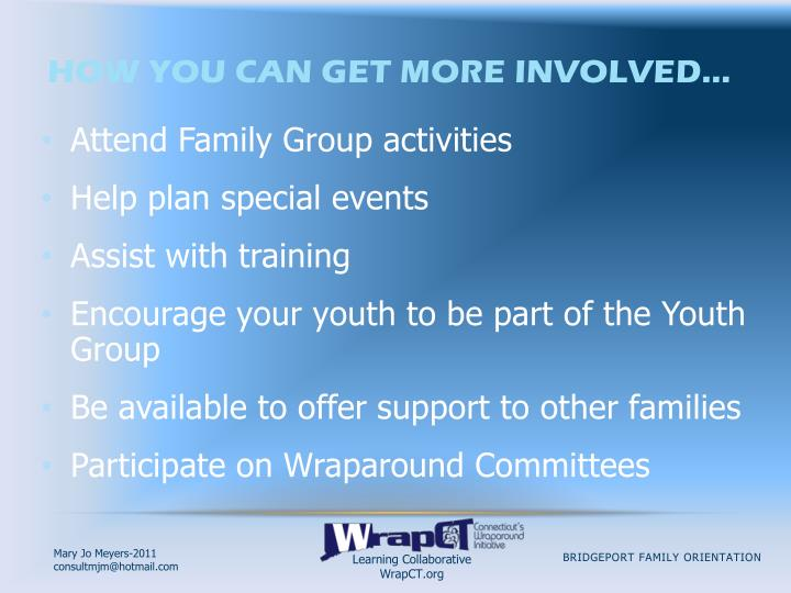 How you can get more involved…