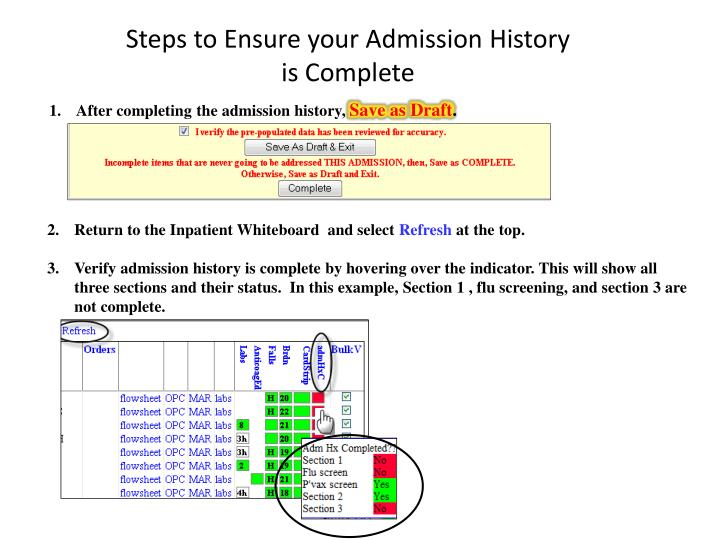 Steps to Ensure your Admission History