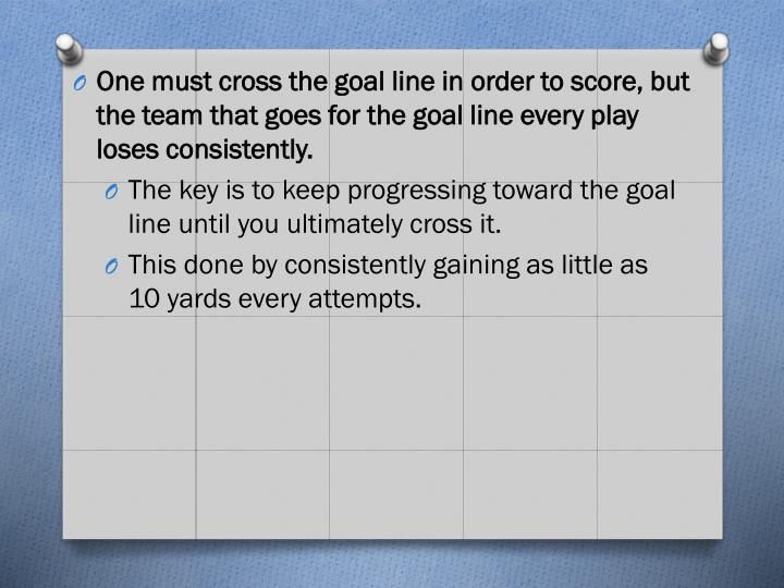 One must cross the goal line in order to score, but the team that goes for the goal line every play loses consistently.