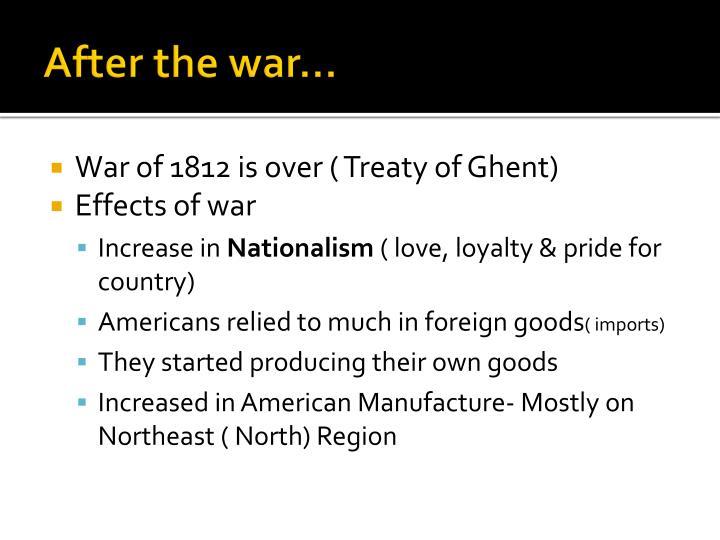After the war…