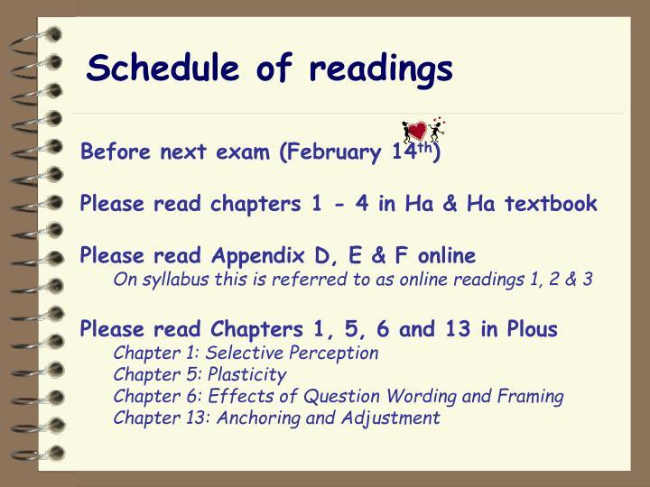 Schedule of readings