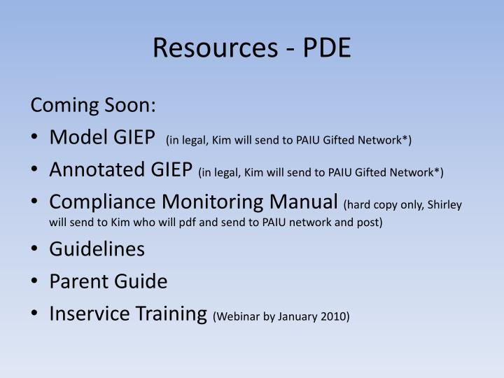 Resources - PDE