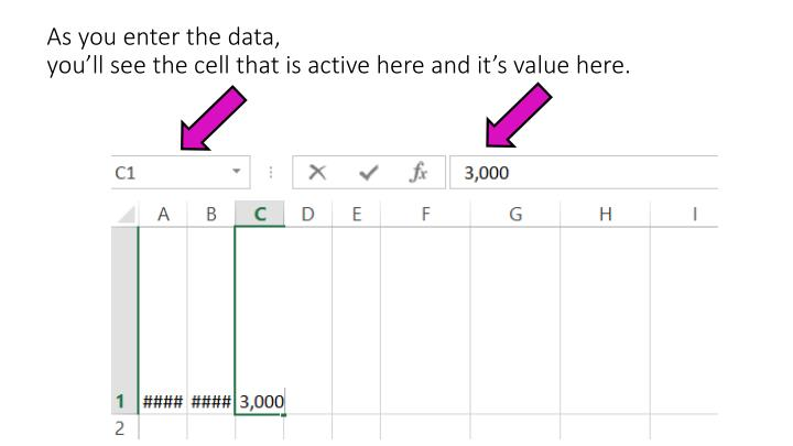 As you enter the data,