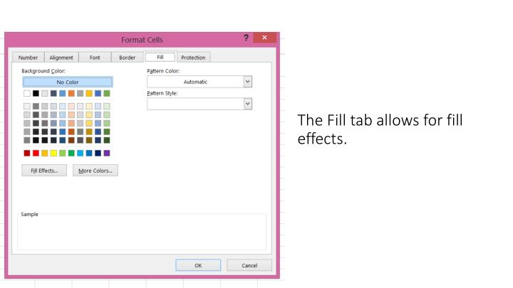 The Fill tab allows for fill effects.
