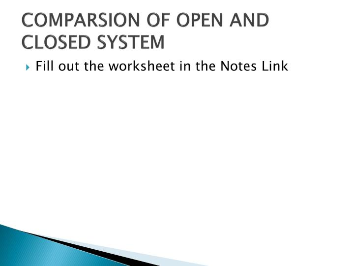 COMPARSION OF OPEN AND CLOSED SYSTEM