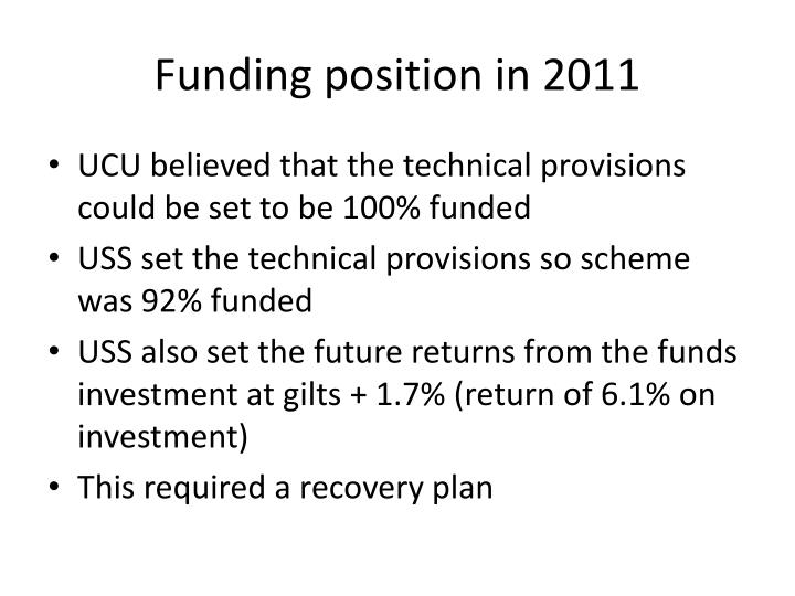 Funding position in 2011