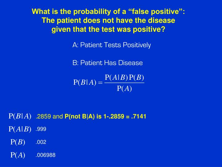 "What is the probability of a ""false positive"":"