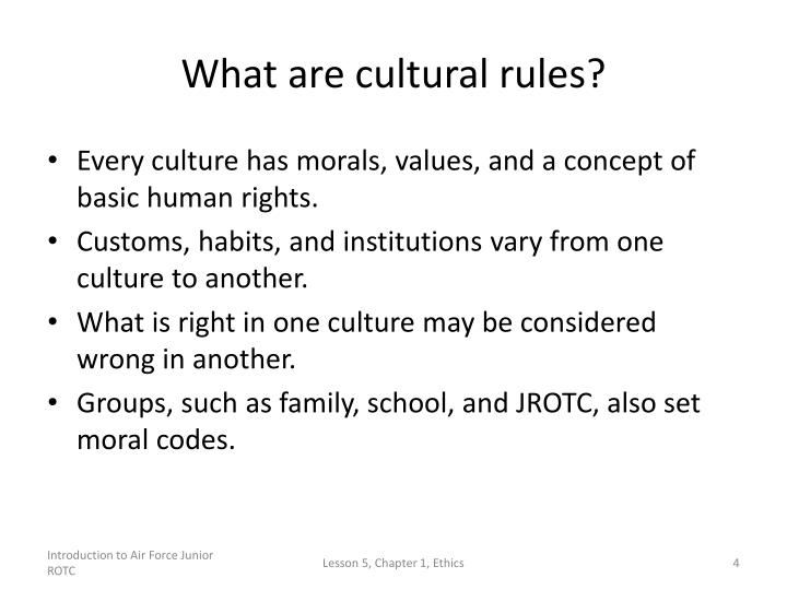 What are cultural rules?