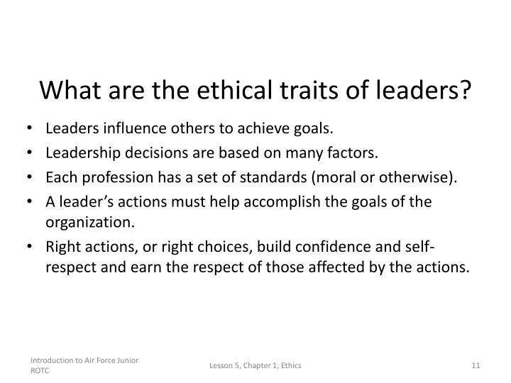 What are the ethical traits of leaders?