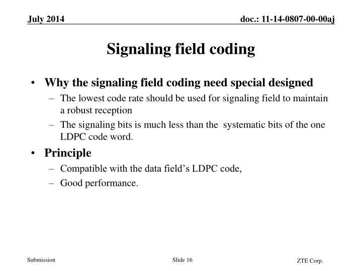 Why the signaling field coding need special designed