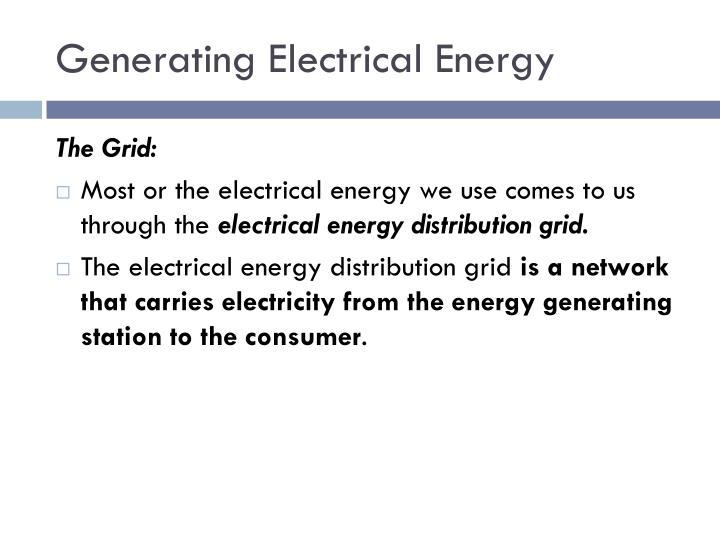 Generating Electrical Energy