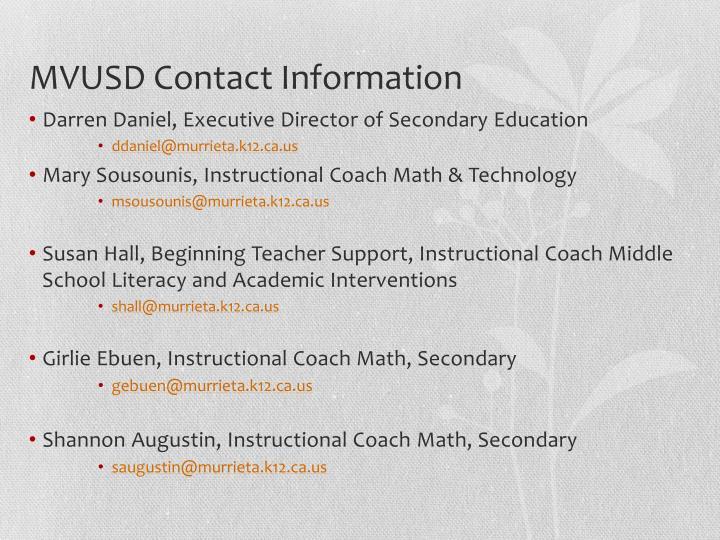 MVUSD Contact Information