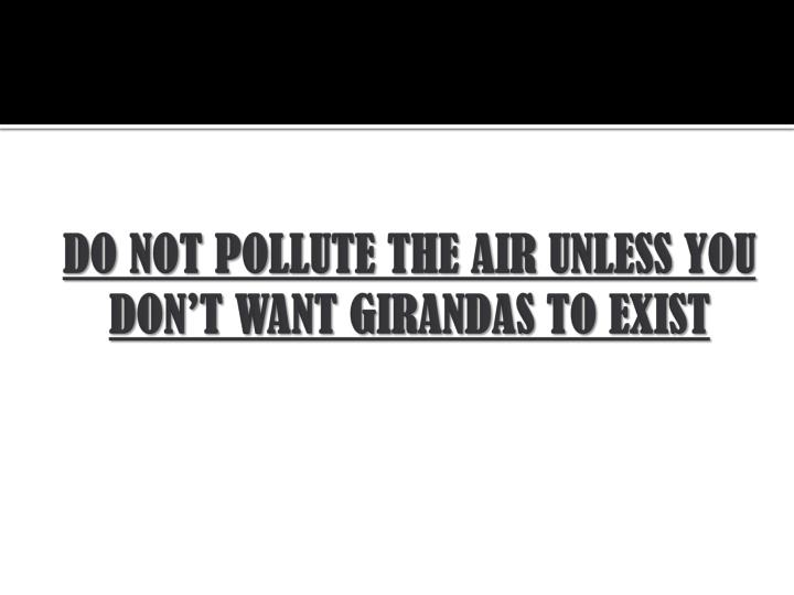 DO NOT POLLUTE THE AIR UNLESS YOU DON'T WANT