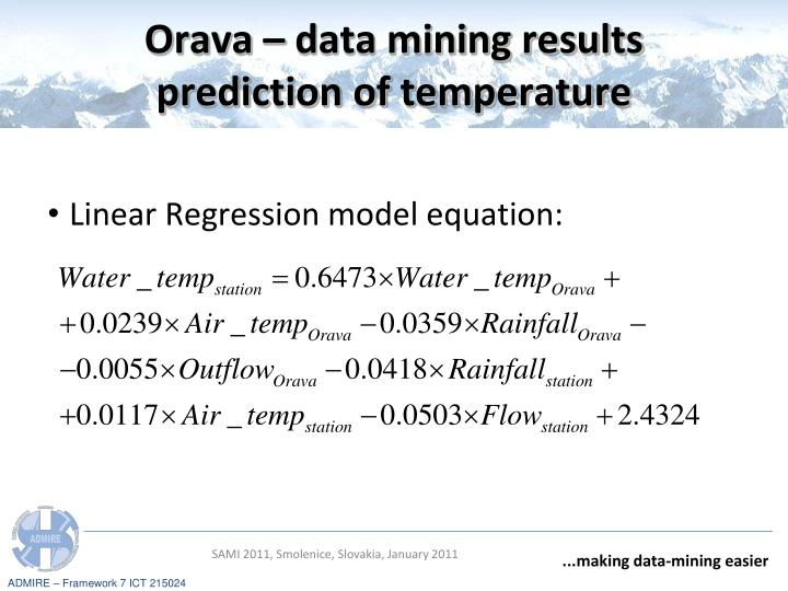 Orava – data mining results