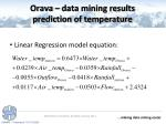 orava data mining results prediction of temperature