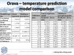 orava temperature prediction model comparison