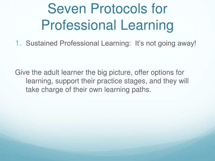 Seven Protocols for Professional Learning
