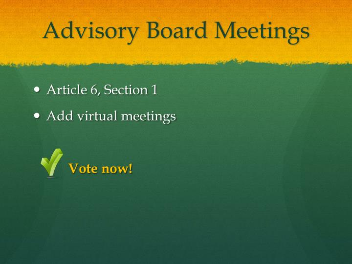 Advisory Board Meetings