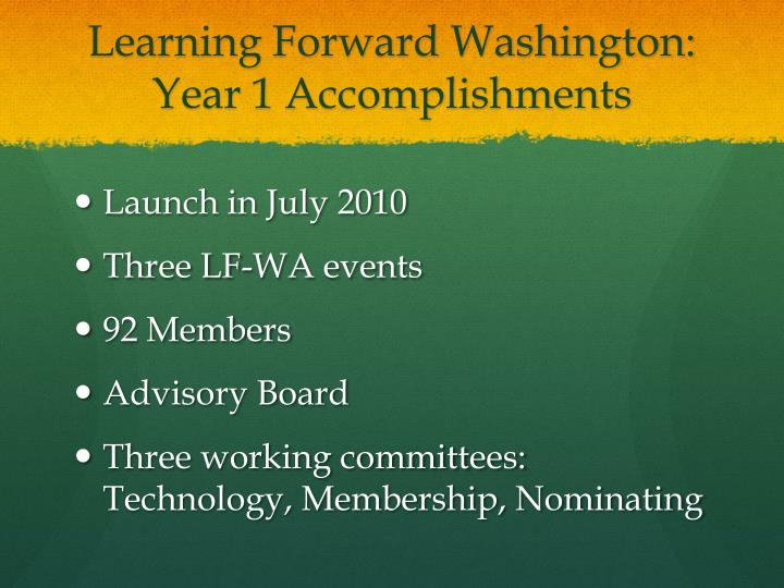 Learning Forward Washington: Year 1 Accomplishments