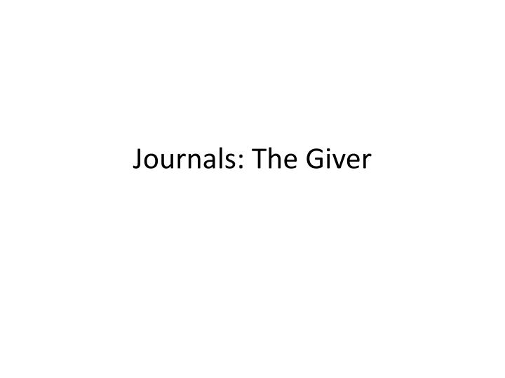 journals the giver