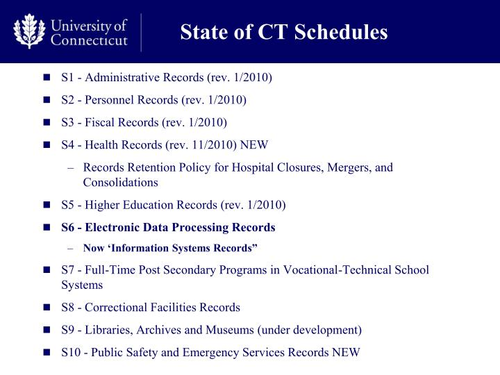 State of CT Schedules