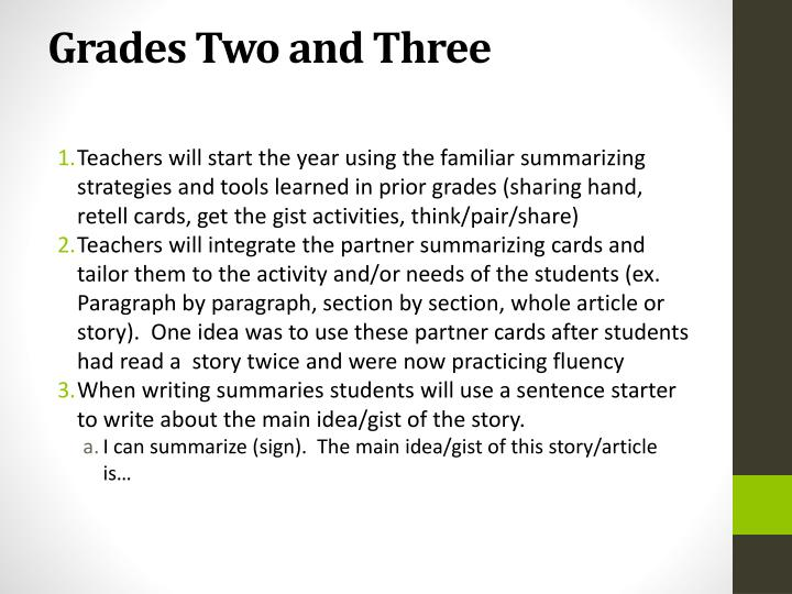 Grades Two and Three