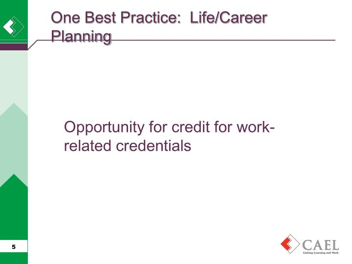 One Best Practice:  Life/Career Planning