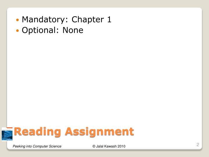 Mandatory: Chapter 1