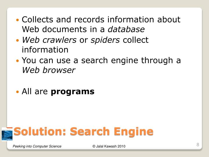 Collects and records information about Web documents in a