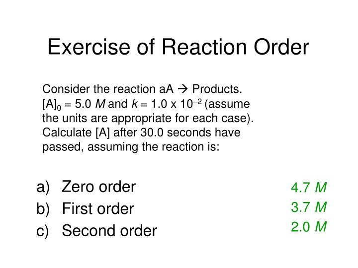 Exercise of Reaction Order