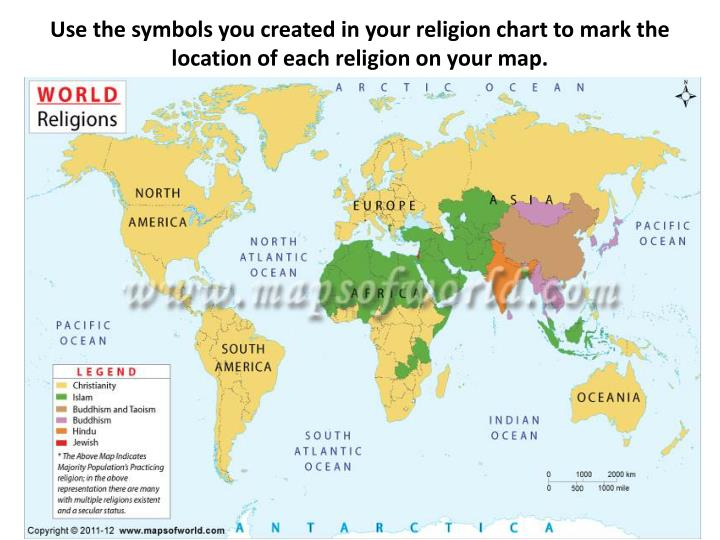 Use the symbols you created in your religion chart to mark the location of each religion on your map.