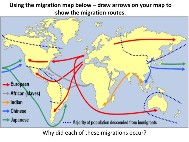 Using the migration map below – draw arrows on your map to show the migration routes.