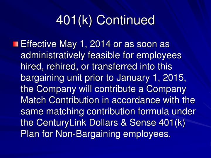 401(k) Continued