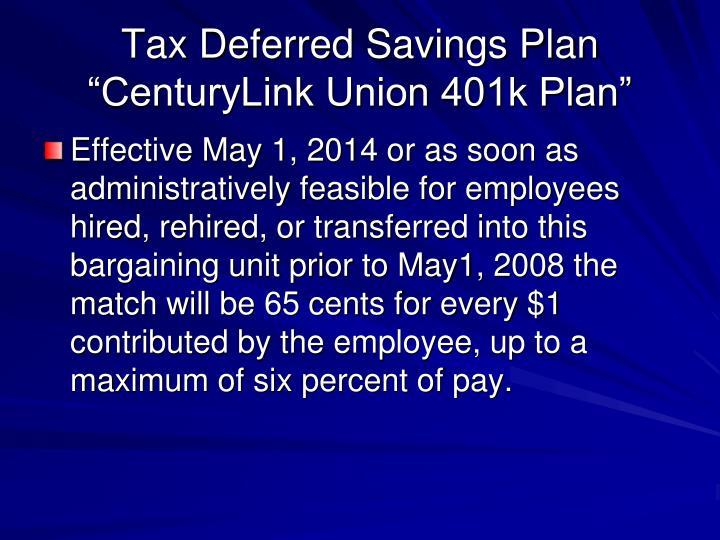 Tax Deferred Savings Plan