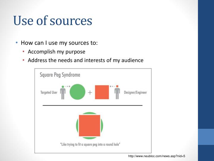 Use of sources