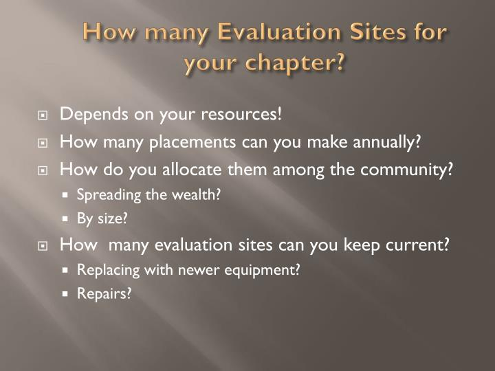 How many Evaluation Sites for your chapter?