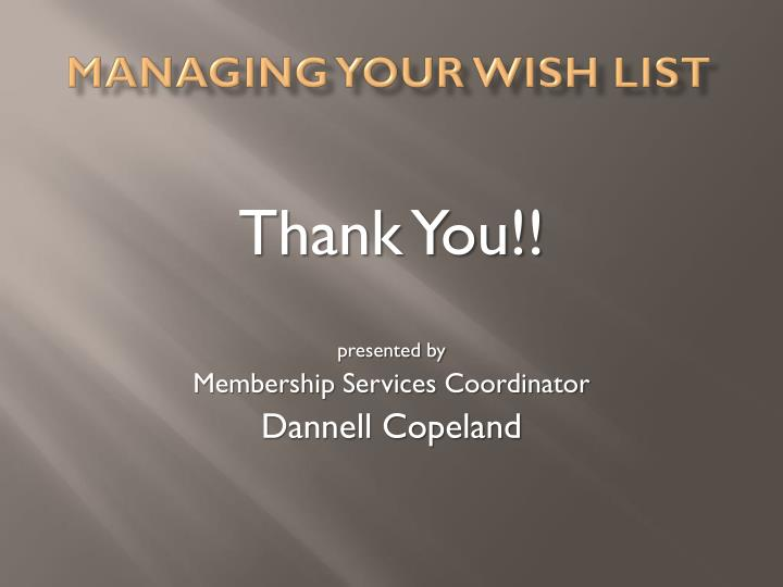 Managing your Wish List