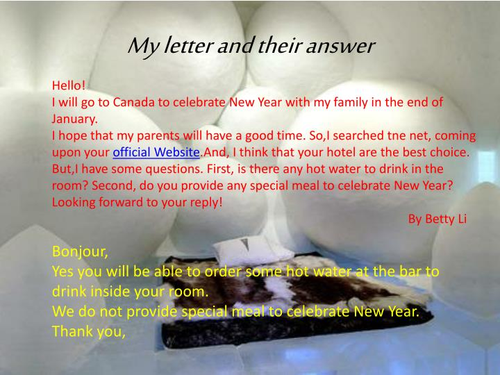 My letter and their answer