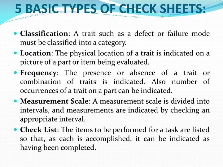 5 Basic types of Check Sheets: