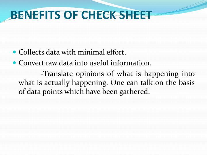 Benefits of Check Sheet