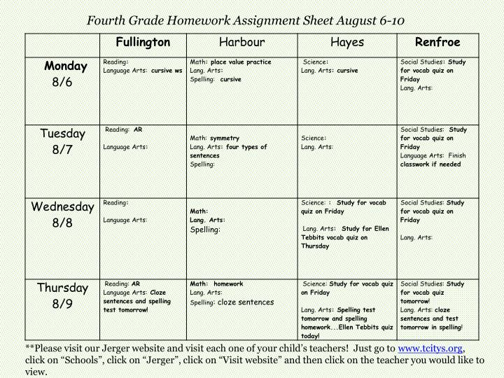 Fourth Grade Homework Assignment Sheet August 6-10